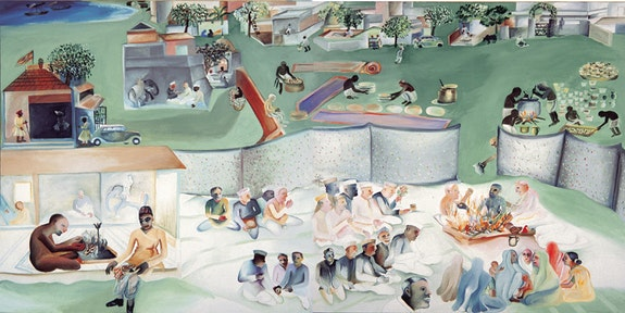 Bhupen Khakhar, <em>Yagnya or Marriage</em>, 2000. Oil paint on canvas. 68 &#215; 136 inches. &#169; Estate of Bhupen Khakhar. Courtesy Tapi Collection, India.