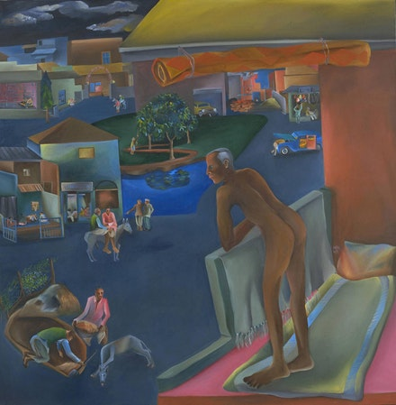 Bhupen Khakhar, <em>You Can't Please All</em>. 1981. Oil paint on canvas. 69 × 69 inches. Courtesy Tate London. © Estate of Bhupen Khakhar.
