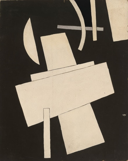 Lyubov Popova, <em>Untitled</em> (ca. 1916-17). Gouache on board. 19 1/2 × 15 1/2 inches.