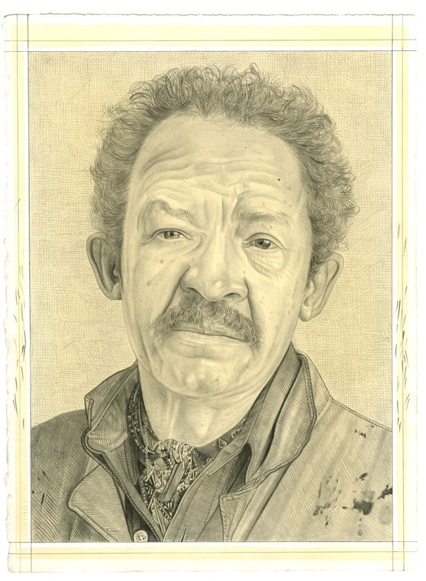 Portrait of Jack Whitten. Pencil on paper by Phong Bui. From a photo by John Berens.