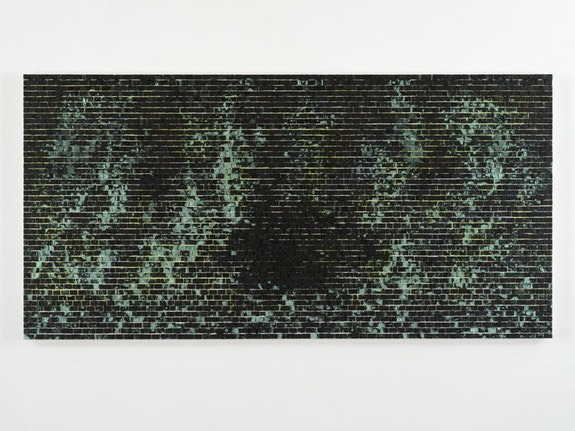 Jack Whitten, <em>Quantum Wall, II (Missing Matter)</em>, 2016. Acrylic on canvas. 48 x 96 x 3 inches © Jack Whitten. Courtesy the artist and Hauser & Wirth.