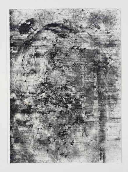 Jack Whitten, <em>The Third Entity #7</em>, 2016. Black graphite and renaissance wax on evolon. 30 x 22 inches. © Jack Whitten. Courtesy the artist and Hauser & Wirth.