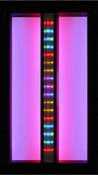 "Carol Salmanson, ""Split Screen"" (2006). LEDs, high-intensity reflective sheeting, fluorescent lights, painted steel, prism rod. 31"" high x 17.5"" wide x 9"" deep."