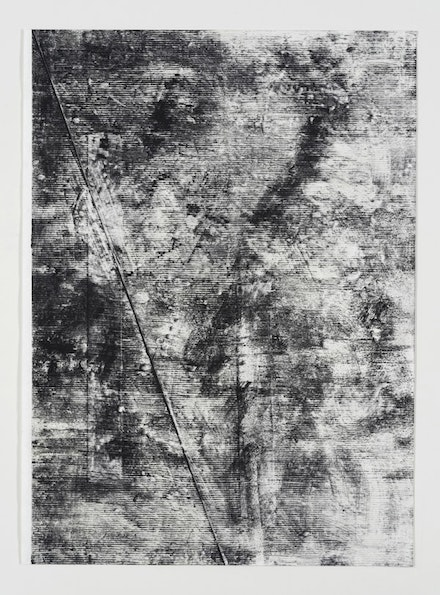 Jack Whitten, <em>The Third Entity #5</em>, 2016. Black graphite and renaissance wax on evolon. 30 x 22 inches. © Jack Whitten. Courtesy the artist and Hauser & Wirth.