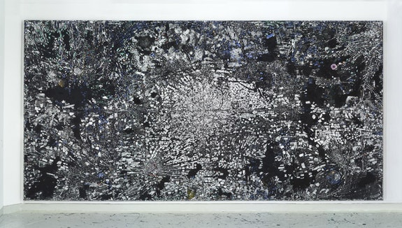 Jack Whitten, <em>Atopolis: For Édouard Glissant</em>, 2014. Acrylic on canvas. 124 1/2 × 248 1/2 inches. © Jack Whitten. Courtesy the artist and Hauser & Wirth.