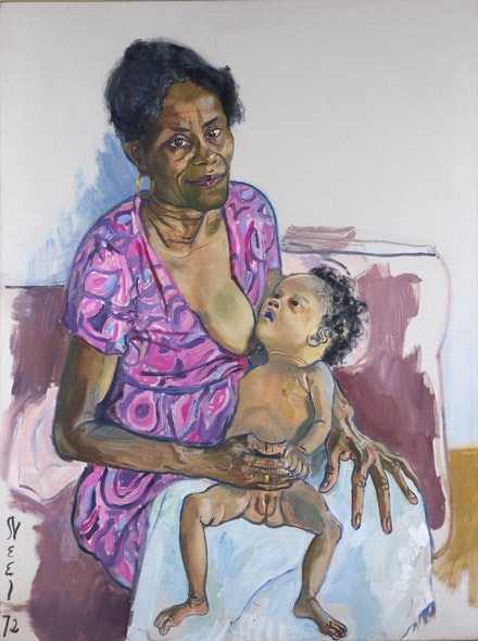 Alice Neel, <em>Carmen and Judy</em>, 1972. Oil on canvas. 40 × 30 inches. Oklahoma City Museum of Art. Westheimer Family Collection. © The Estate of Alice Neel.