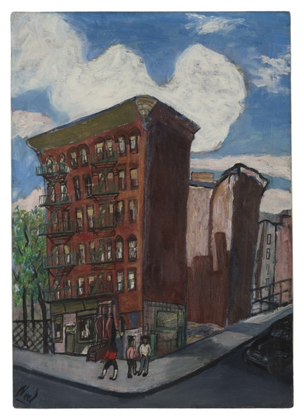 Alice Neel, <em>Building in Harlem</em>, ca. 1945. Oil on canvas. 34 × 24 1/8 inches. © The Estate of Alice Neel.