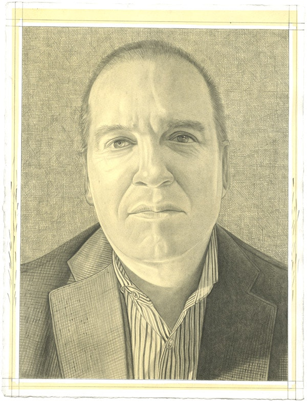Portrait of Eugene Lemay. Pencil on paper by Phong Bui.