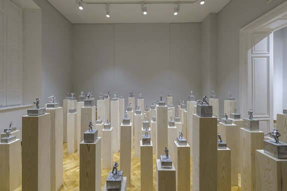 Installation view: Eugene Lemay, <em>Untitled</em>, 2016. 188 sculptures: 147 on wood pedestals, 41 on cement pedestals aluminum, and one gold leaf. Dimensions variable. Courtesy of Contemporary Art Centre of Montenegro. Photo: Dusko Miljanić.