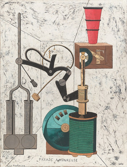 Francis Picabia, <em>Parade amoureuse </em>(<em>Amorous Parade</em>), 1917. Oil, gesso, metallic pigment, ink, gold leaf, pencil, and crayon on board. 38 × 29 inches Neumann Family Collection. © 2016 Artist Rights Society (ARS), New York/ADAGP, Paris. Photo: Tom Powel Imaging.