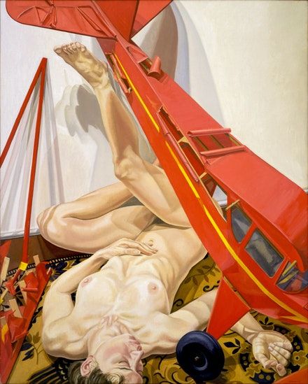 Philip Pearlstein, <em>Nude with Red Model Airplane</em>, 1988. Oil on canvas. 60 × 48 inches.