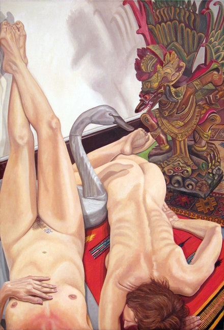 Philip Pearlstein, <em>Two Models with Swan Decoy and Carved Garuda Figure</em>, 2013. Oil on canvas. 72 × 48 inches. Courtesy the artist.