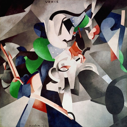 Francis Picabia, <em>Udnie (Jeune fille américaine; danse) </em>[<em>Udnie (Young American Girl; Dance)</em>]. 1913. Oil on canvas, 114 3/16 inches × 208 1/8 inches. Centre Pompidou, Musée national d'art moderne—Centre de création industrielle, Paris. © 2016 Artist Rights Society (ARS), New York/ADAGP, Paris. Photo: © Centre Pompidou, MNAM-CCI/Georges Meguerdtchian/Dist. RMN-Grand Palais/Art Resource, New York.