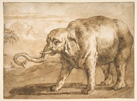 <em>Elephant in a Landscape</em>, Giovanni Domenico Tiepolo, 1727 – 1804. Pen and brown ink, brush and brown wash, over black chalk. 7 1/8 × 9 9/16 inches. Bequest of Eva B. Gebhard Gourgaud, 1959. OASC, Metropolitan Museum of Art, New York.