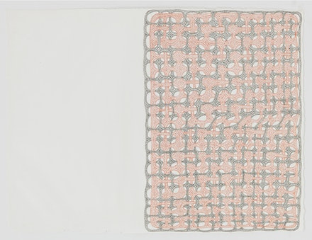 James Siena, <em>Large Red and Black Manifold</em>, 2016. Ink on paper. 17 7/8 x 23 7/8 inches. © James Siena, courtesy the artist and Pace Gallery.