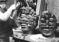 "Reuben Kadish at work on ""Dream"" (left) and ""Budghia"" (right), both bronze, 1985. Courtesy Reuben Kadish Art Foundation"