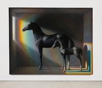 TM Davy, <i>horses (xo)</i>, 2016. Oil on linen, 79 x 99 inches. Courtesy 11R Gallery.