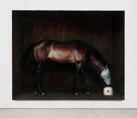 TM Davy, <em>horse (xox)</em>, 2016. Oil on linen. 79 x 99 inches. Courtesy 11R Gallery.
