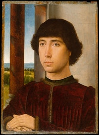Hans Memling, <em>Portrait of a Young Man</em>, ca. 1472 – 75. Oil on oak panel. 15 3/4 × 11 3/8 inches. The Metropolitan Museum of Art, Robert Lehman Collection. Photo © The Metropolitan Museum of Art.