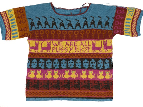 Lisa Anne Auerbach, <em>We Are All Pussy Riot</em>, 2012. Wool. Photo by and courtesy of the artist.