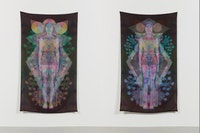Saya Woolfalk, <em>Cloudskin I, II</em>, 2016, Inkjet prints on silk, 70 x 40 inches each. Courtesy the artist and Leslie Tonkonow Artworks + Projects.