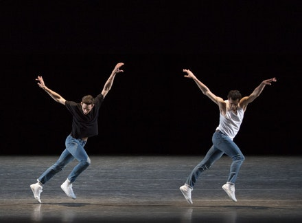Justin Peck and Robert Fairchild in Peck's <em>The Times Are Racing</em>. Photo: Paul Kolnik.