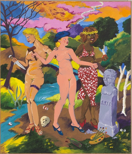 Robert Colescott, <em>The Three Graces: Art, Sex and Death</em>, 1981. Acrylic on canvas. 84 &#215; 72 inches. Whitney Museum of American Art, gift of Raymond J. Learsy. With permission of the Estate of Robert Colescott. Courtsey the Whitney Museum.
