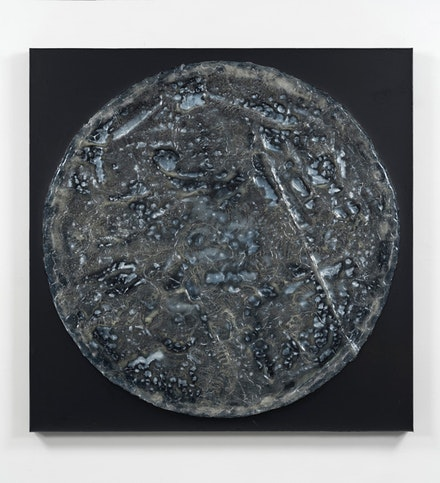 Jack Whitten, <em>The Fifth Portal</em>, 2016. Acrylic and mixed media on canvas. 48 × 48 inches. © Jack Whitten. Courtesy the artist and Hauser & Wirth.