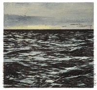Yoan Capote, <em>Isla (Mas allá)</em>, 2016. Oil, nails, and fish hooks on linen mounted on panel. 38 1/8 × 40 1/8 × 3 1/2 inches. © Yoan Capote. Courtesy the artist and Jack Shainman Gallery.