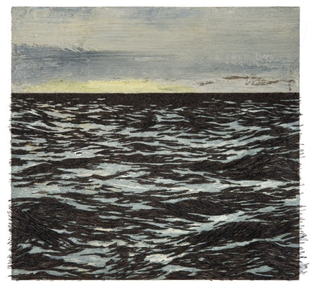 Yoan Capote, <em>Isla (Mas all&#225;)</em>, 2016. Oil, nails, and fish hooks on linen mounted on panel. 38 1/8 &#215; 40 1/8 &#215; 3 1/2 inches. &#169; Yoan Capote. Courtesy the artist and Jack Shainman Gallery.