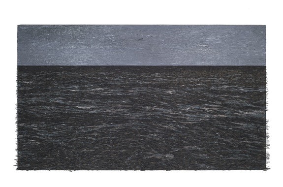 Yoan Capote, <em>Isla (After Böcklin)</em>, 2016. Oil, nails, and fish hooks on linen mounted on panel. 42 1/8 x 74 7/16 x 5 1/8 inches. © Yoan Capote. Courtesy the artist and Jack Shainman Gallery.