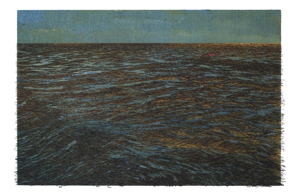 Yoan Capote, <em>Isla (Pérdida)</em>, 2016. Oil, nails, and fish hooks on linen mounted on panel. 48 1/16 × 74 7/16 × 4 1/8 inches. © Yoan Capote.  Courtesy the artist and Jack Shainman Gallery.