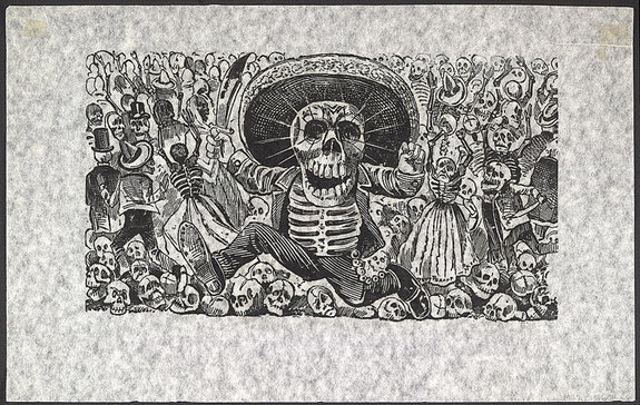 José Guadalupe Posada, <em>Calavera Oaxaqueña</em>. Published by the firm of Antonio Vanegas Arroyo 1900 - 70. Relief etching. 8 1/3 × 13 1/3 inches. Library of Congress Prints and Photographs Division.