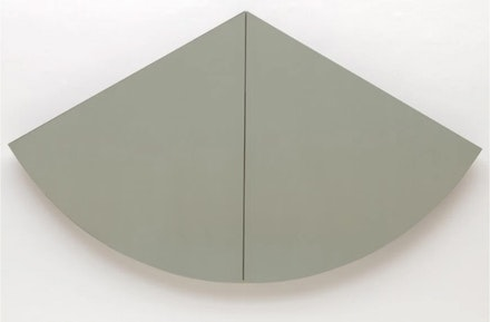 Robert Mangold, <em>1/3 Gray-Green Curved Area</em>, 1966. Oil on Masonite.Two panels, overall: 48 x 83 3/4 inches. Solomon R. Guggenheim Museum, New York.
