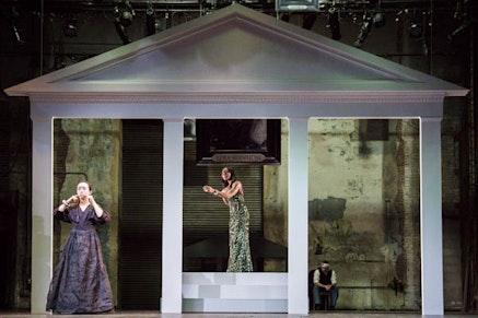 <p>Eunice Wong, Stephanie Weeks, and Satya Bhabha in TNT's&nbsp;<em>Mourning Becomes Electra</em>. Photo: Gia Squarci.</p>