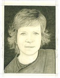 Portrait of Katharina Grosse. Pencil on paper by Phong Bui.