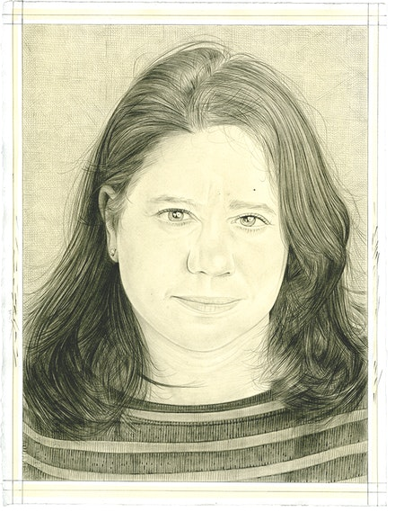 Portrait of Alexandra Schwartz. Pencil on paper by Phong Bui.