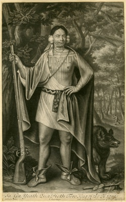 John Simon after John Verelst (1648–1734), Sa Ga Yeath Qua Pieth Tow, King of the Maquas, 1710. Mezzotint. New-York Historical Society Library.