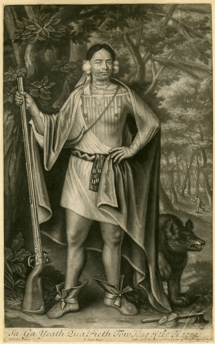 John Simon after John Verelst (1648–1734), Sa Ga Yeath Qua Pieth Tow, King of the Maquas, 1710. Mezzotint. New-York Historical Society Library.