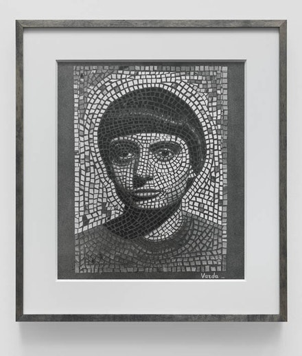 Agnès Varda, <em>Autoportrait mosaique</em>, 1949/2012. Silver print on Warm Tone Baryta paper. 20 1/4 x 18 1/4 x 1 1/2 inches (framed). Photo: Genevieve Hanson. Courtesy the artist and Blum & Poe, Los Angeles/New York/Tokyo.