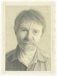 Portrait of Allan McCollum. Pencil on paper by Phong Bui.