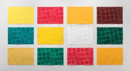 Allan McCollum, <i>Untitled Paper Constructions</i>, 1975. Acrylic paint, watercolor, colored pencil on paper, 12 parts. 16 × 24 inches each. Courtesy the artist and Petzel Gallery, New York.