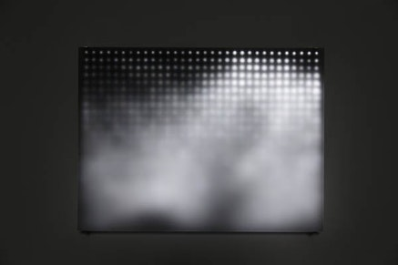 Jim Campbell, <em>Divide</em>, 2005. 29 1/2 &times; 22 1/4 &times; 3 7/8 inches. Custom electronics, 768 LEDs, treated Plexiglas. Photo: Sarah Christianson. Courtesy the artist and Bryce Wolkowitz Gallery.