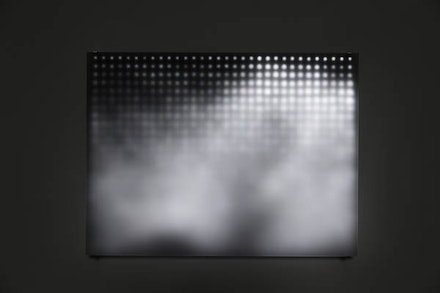 Jim Campbell, <em>Divide</em>, 2005. 29 1/2 × 22 1/4 × 3 7/8 inches. Custom electronics, 768 LEDs, treated Plexiglas. Photo: Sarah Christianson. Courtesy the artist and Bryce Wolkowitz Gallery.