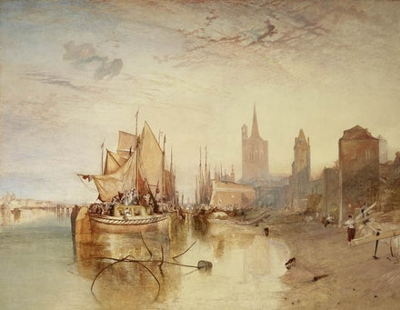 J.M.W. Turner, <em>Cologne, the Arrival of a Packet-Boat: Evening</em>. Oil on canvas. 66 3/8 x 88 1/4 inches. Photo: Michael Bodycomb. Courtesy The Frick Collection.