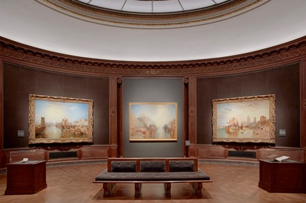 Installation view: Works in the Oval Room, <em>Turner's Modern and Ancient Ports: Passages through Time</em>, The Frick Collection, New York. Photo: Michael Bodycomb.