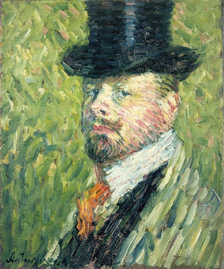 Alexei Jawlensky, <em>Self-Portrait with Top Hat</em>, 1904. Oil on canvas. Private Collection. © 2017 Artists Rights Society (ARS), New York for Alexei Jawlensky.