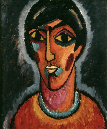 Alexei Jawlensky, <em>Byzantine Woman</em>, 1913. Oil on cardboard. Centre Pompidou, Paris. Musée national d'art moderne/Centre de création industrielle © 2017 Artists Rights Society (ARS), New York for Alexei Jawlensky.