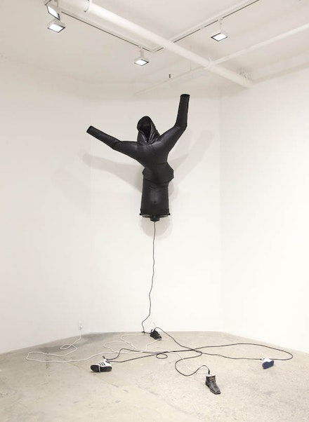Paul Chan, <em>Pillowsophia (after Ghostface)</em>, 2016. Nylon, wood, concrete, shoes, fans. 228 x 216 x 96 inches. Courtesy the artist and Greene Naftali, New York.
