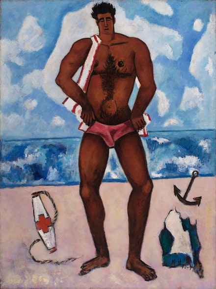 Marsden Hartley, <em>Canuck Yankee Lumberjack at Old Orchard Beach, Maine</em>, 1940 – 41. Oil on Masonite-type hardboard. 40 1/8 × 30 inches. Hirshhorn Museum and Sculpture Garden, Smithsonian Institute.